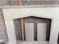 Solid sand stone fireplace