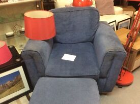 Blue armchair and footstool