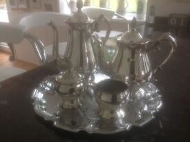 Silver tray with coffee pot tea pot sugar covered lid& jug