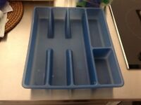 Cutlery divider - cutlery tray - blue plastic, good condition.