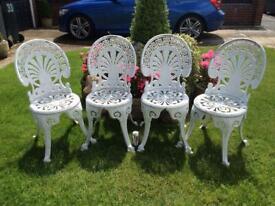 Vintage Cast Aluminium Matching Garden Bistro Chairs x 4, £100 🚚 Delivered Free Locally