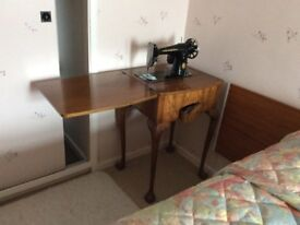1954 Singer Sewing Machine built into Walnut Table
