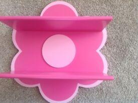 Pink childrens flower shelf