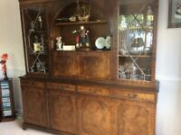 Reproduction Dining Room Furniture (table + 6 chairs, large display unit plus small sideboard.