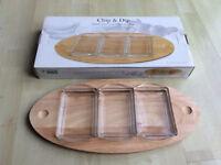 Rubberwood Tray with 3 Glass Trays