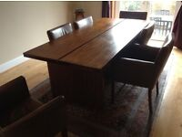 Large dining table and 6 leather chairs