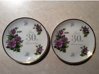 2x Pearl 30th Anniversary Plates - price is for both NOT EACH