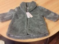 MONSOON BRAND NEW WITH TAG FAUX FUR COAT 18-24 months