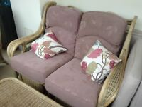 Cane furniture with fitted cushions