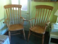 Pine High Back Grandfather Chairs. Sold individually or as a pair.