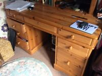 Desk, pine, excellent storage, nice size, good overall condition.