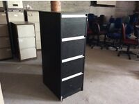 Black Wood Four Drawer Fling Cabinet