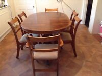 Yew Dining Table, 6 Chairs and Corner Cabinet. Table extension.
