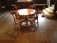 Farmhouse pine table and four chairs