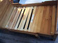 IKEA CHILDS PINE EXTENDING BED WITH MATTRESS AND ACCESSERIES SEE DESCRIPTION PLEASE..........