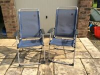 LaFuma Reclining Deckchairs with matching footstools