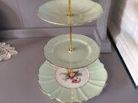 Green Floral Bone China 3 Tier Cake Stand.