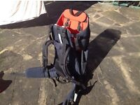 MacPac Possum Baby / child rucksack carrier with sunshade and rain cover and mirror. Great condition