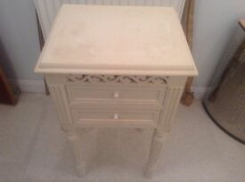 White two drawer small bedside cabinet