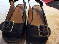 Heavenly Feet, black wedge sandal . Size 37.