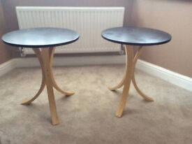 two small wood tables, black table top on three birch legs, £5 each