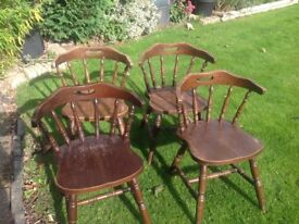 Oak carver chairs x4