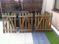 Garden gates wooden x 3 with ironmongery