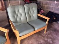 2 seater sofa and 2 single chairs.