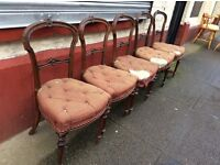 Five antique balloon-back chairs : free Glasgow delivery