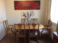 Solid pine dining table with six chairs (2 carver chairs)