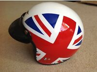 MOTORCYCLE -SCOOTER HELMET. UNION JACK DESIGN EX COND