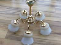Vintage gold plated 5 arm light fitting complete with glass shades