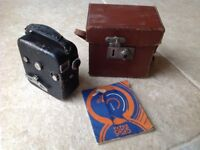 PATHESCOPE BABY CINE 9.5mm CAMERA WITH INSTRUCTIONS & CASE (VINTAGE)