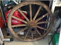 """Oak and Iron Cart Wheel - 35"""" diameter"""
