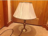 Antique Brass effect Lamp and pale blue shade - Excellent condition