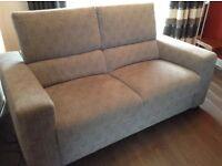 Modern Grey fabric 2 seater sofa with folding headrests