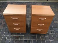 TWO NICE BEDSIDE TABLES AND MATCHING CHEST OF DRAWS