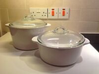 New White Casserole Dishes: 3 Ltr + 2 Ltr (Unused)