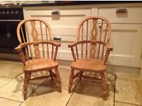 Pair of Children's traditional beech farmhouse chairs