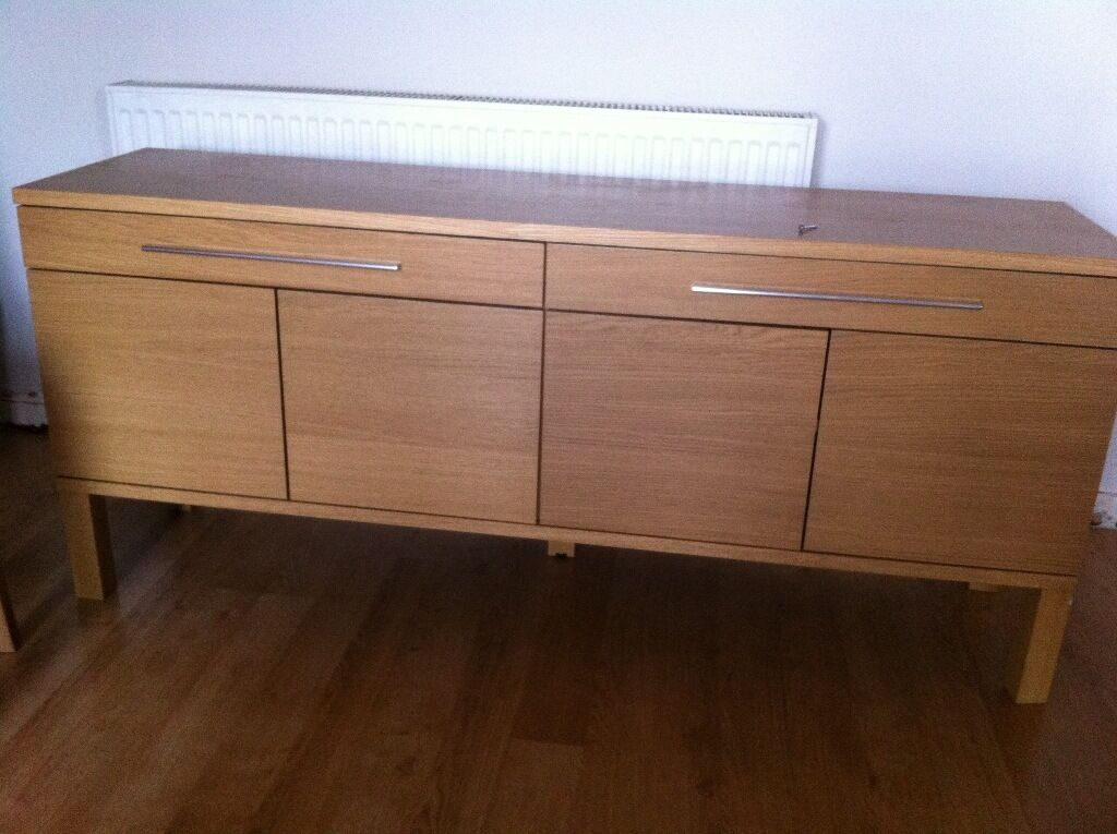 ikea 39 bjursta 39 tv stand sideboard oak veneer in beeston. Black Bedroom Furniture Sets. Home Design Ideas