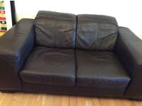 Brown leather two seater sofa-Free delivery