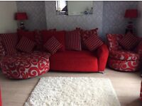 Suite lovely modern 3seater chaise / chair/swivel chair / footstool .. smoke free home