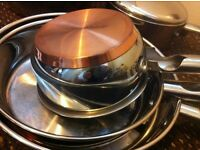 Morphy Richards Top Range Stainless Steel & Copper Set of 7 Kitchen Pans and Pots