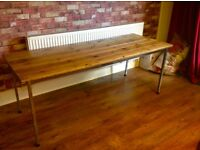 "INDUSTRIAL DESIGN TABLE WITH RECLAIMED WOOD DECKING TOP - 71"" - CAN DELIVER LOCALLY"