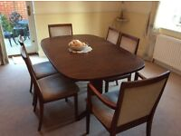 G-plan dark oak extending dining table, 4 dining chairs, 2 carver chairs, good condition,