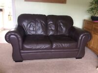 two x two seater leather sofas