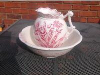Vintage jug and bowl set. Ivory glaze with delicate iris design in pink