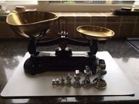 Old fashioned kitchen scales and weights - collectable item