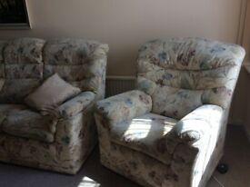 G-Plan 3 Piece Suite - One chair is electric and can be changed into a bed