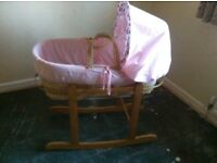 Baby girls Moses basket with 2 rocking stands